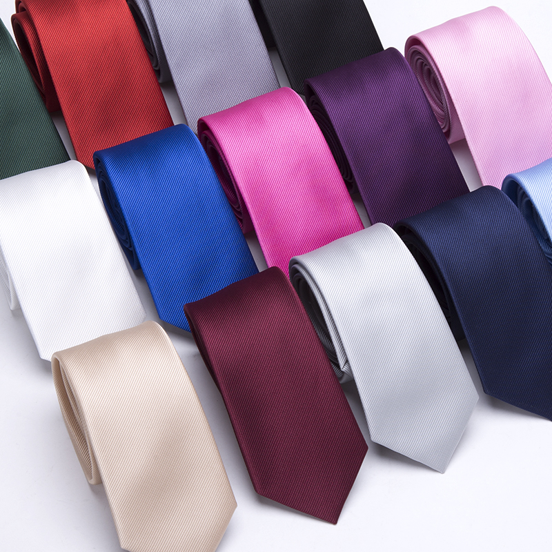 Men Ties Solid Color 6CM Slim Tie Necktie Men's Business Wedding BowTie Male Legame Gift Gravata England JACQUARD WOVEN