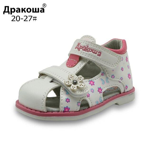 2017 חדש קיץ ילדי סנדלי בנות עור מפוצל פרחוני נסיכת נעליים אורתופדיות סגור הבוהן פעוט ילדי בנות סנדלי