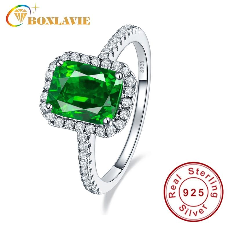 BONLAVIE Vintage Style Green Emerald Ring 925 Sterling Silver Anel Feminino Aneis Bijoux Engagement Jewelry Rings BN-1009R