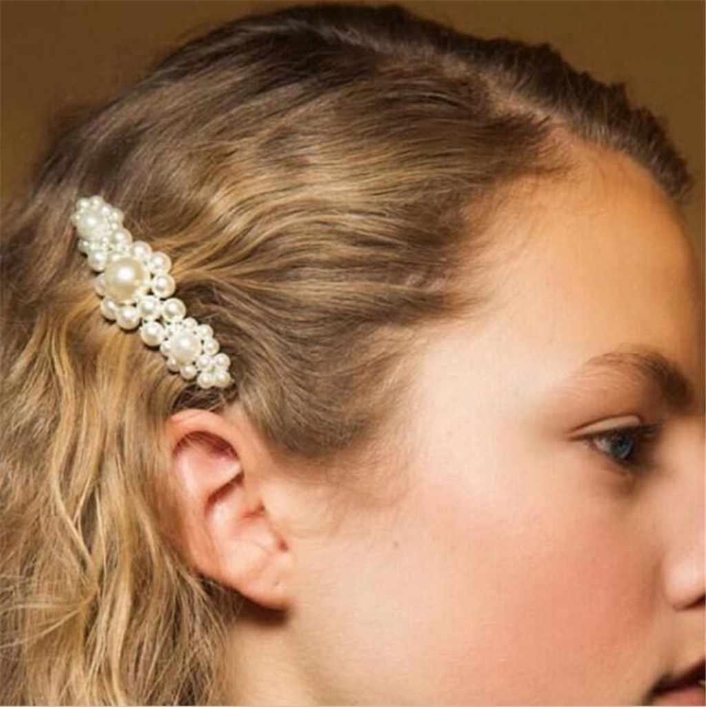 INS Горячая заколка для волос для женщин прямоугольные Сладкие Заколки блестящие шпильки с жемчугом заколки головная повязка, аксессуары для волос подарок