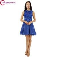 Homecoming платья 2018 дешевые настоящий Королевский синий кружева шифон Полу вечернее платье для выпускного вечера Короткие 8th Класс Выпускной Н