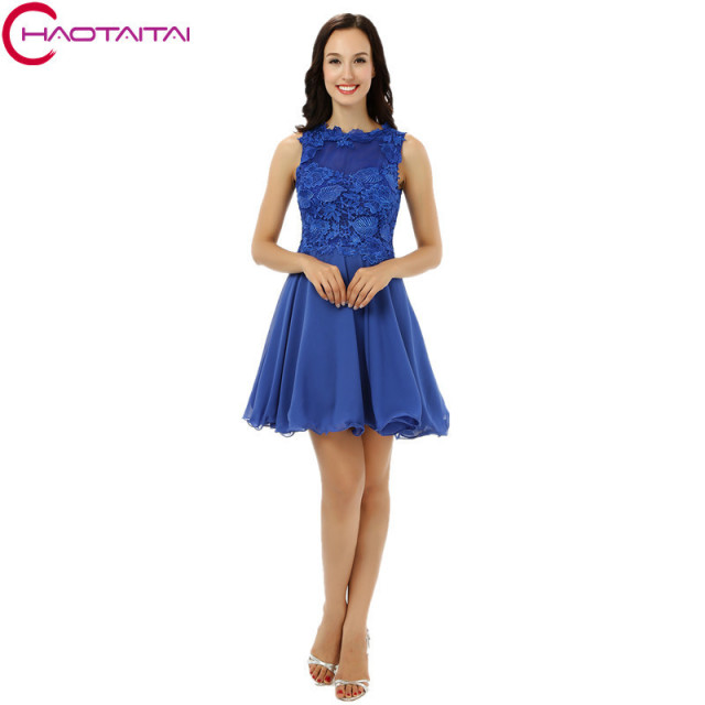 Homecoming Dresses 2018 Cheap Real Royal Blue Lace Chiffon Semi