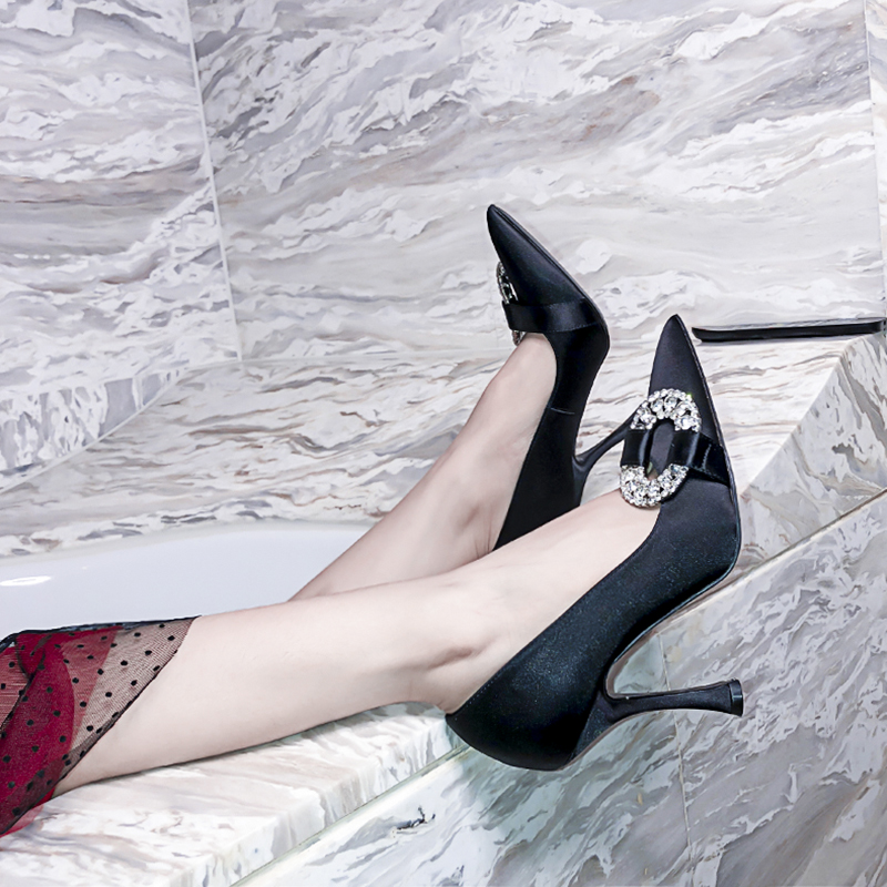 Luxe Talons As Soie Hauts Banquet Profonde Bling Pompes Stiletto Peu Pointu Pic Femme Mariage Bout as Strass De Pic Partie Sexy Chaussures rrPqFBnf