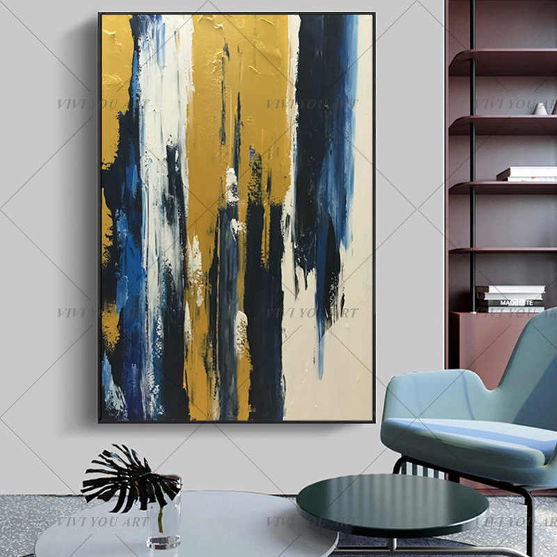 2019 New Drawing 100% Handmade Abstract Gold Painting Landscape Wall Art Picture For Living RoomIsolate Golden Abstract Pictures