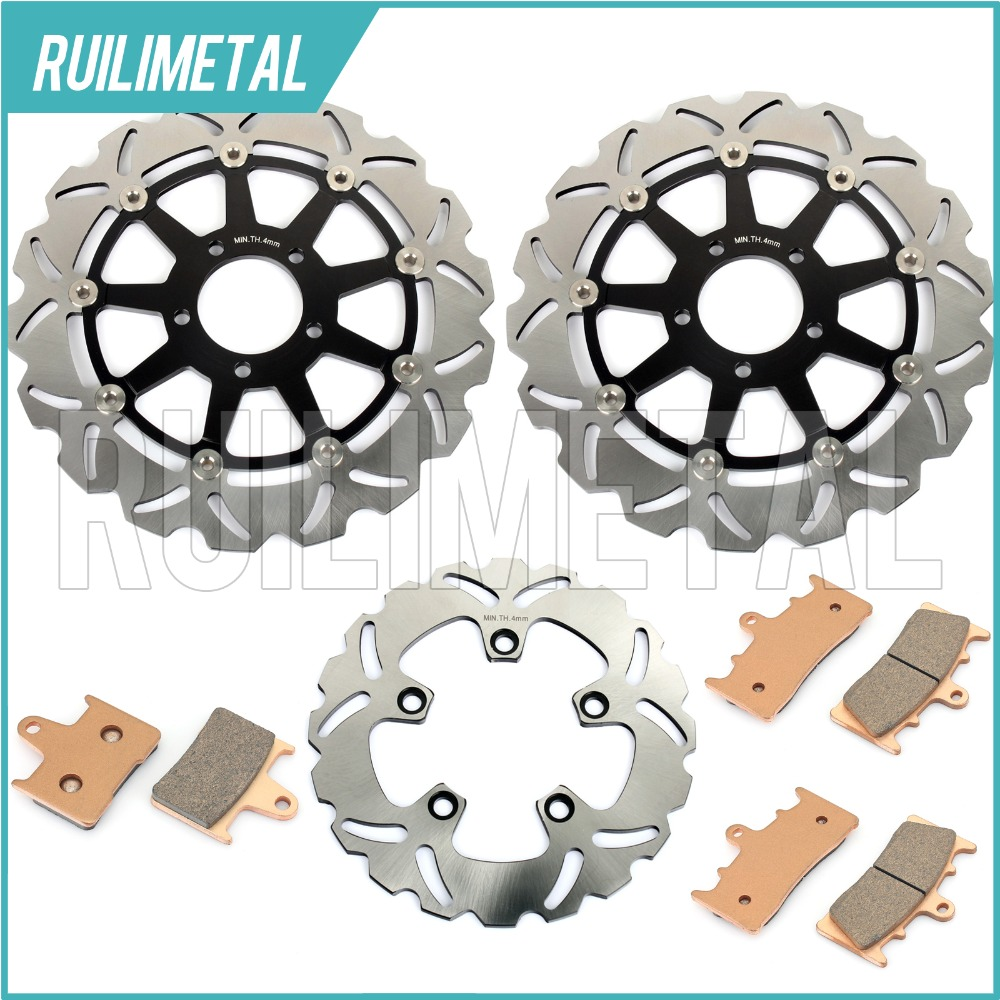 Nuove Anteriore Posteriore Pastiglie Freno Dischi Rotori Set per Suzuki GSXR 1000 01 02 GSX-R 1000 K1 K2 2001 2002 Nuovo Nero oro