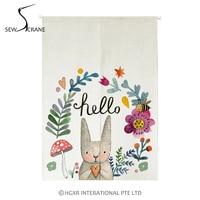 SewCrane Hello Flowers Cute Bunny Home Restaurant Door Curtain Noren Doorway Drapes Room Divider