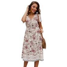 Dress 2019 Summer Floral Print Boho Beach Dress Short Sleeve Evening Party Dress Tunic Vestidos N20D