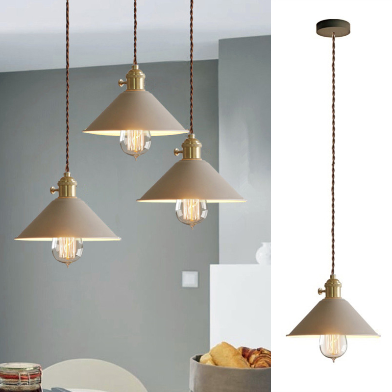 Kitchen Island Pendant Light Khaki Metal Lighting Fixtures