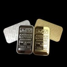 2 Pcs The Johnson Matthey JM coin 1 OZ 24K real gold silver plated ingot badge 50 x 28 mm souvenir decoration bullion bar