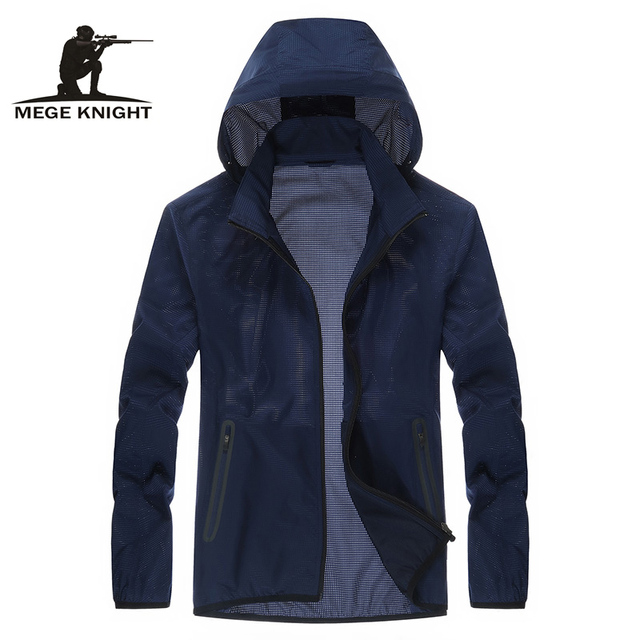 Mege Brand Clothing Summer Casual Unisex UV Protection Windbreaker Quick Dry Lightweight Skin Breathable Quality Hooded Jackets