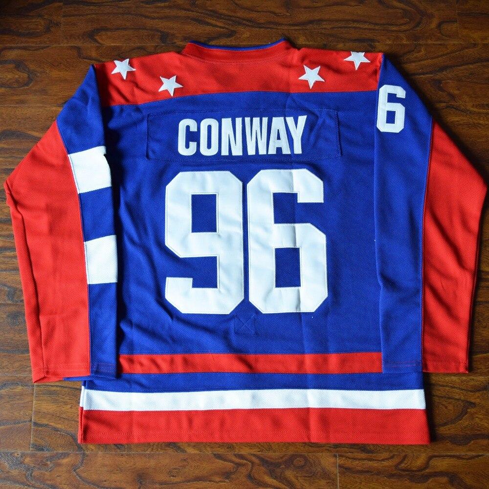 MM MASMIG Charlie Conway #96 Team USA Ice Hockey Jersey Mighty Ducks Stitched Blue