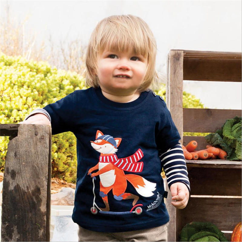 Jumping baby boys t shirts top brand applique animals cute cotton children clothes autumn long sleeve tops kids boy t shirt contrast lace applique t shirt
