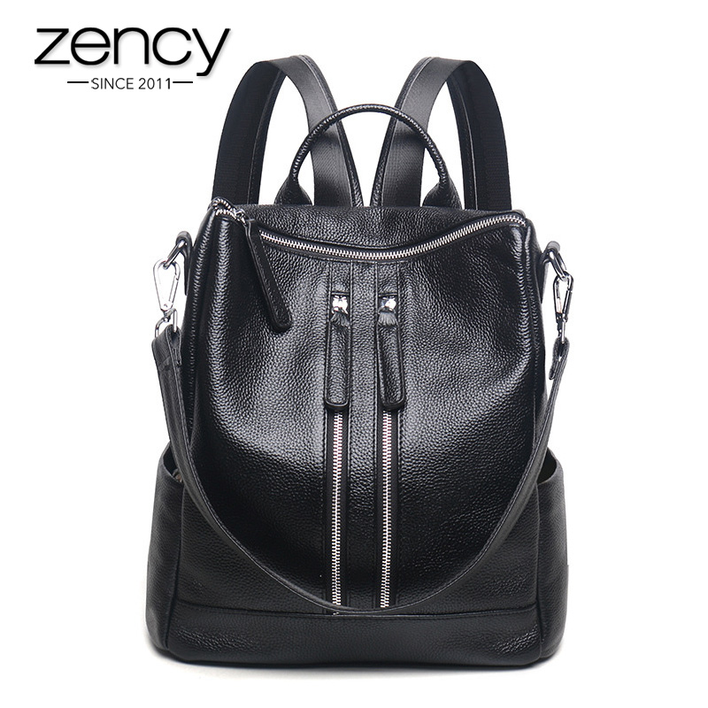 Zency Fashion Genuine Leather Women Backpack Damskie torby podróżne Girl Schoolbag Preppy Style 3 Ways Wearing Fashion Knapsack