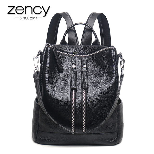 7de2abbb5ff5 Zency Fashion Genuine Leather Women Backpack Ladies Travel Bags Girl Schoolbag  Preppy Style 3 Ways Wearing Fashion Knapsack