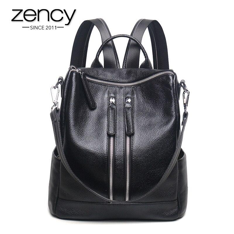 Zency mode en cuir véritable femmes sac à dos dames voyage sacs fille cartable Style Preppy 3 façons porter mode sac à dos-in Sacs à dos from Baggages et sacs    1
