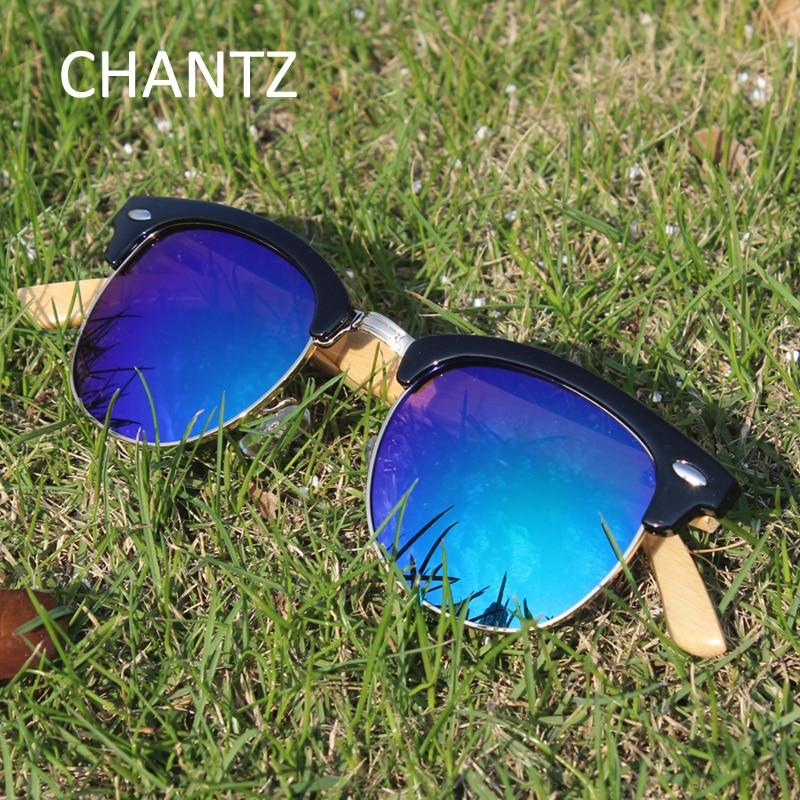 Runde Sonnenbrille Frauen Männer Marke Designer Bambus Gläser mit - Bekleidungszubehör