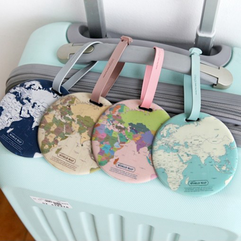 Fashion Map Luggage Tag Women Silica Gel Suitcase ID Address Holder Travel Accessories Baggage Boarding Tag Portable Label
