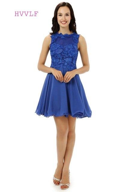 d36c238919516 Kraliyet Mavi Mezuniyet Elbiseleri A-line Yüksek Yaka Organze Dantel Kısa  Mini Sparkly Tatlı 16
