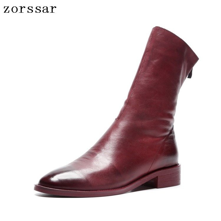 {Zorssar} 2019 New Fashion young women sexy mid calf Boots soft cow Leather women boots flat plus size boots women shoes winter zorssar 2018 new fashion women martin boots cow suede comfort flats heel lace up mid calf boots autumn winter women shoes