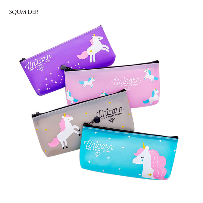 Cartoon Unicorn Pencil Case  Zipper Pencile Big Bag For Kids Girls Gift Big Case Office Stationery Supplies For School