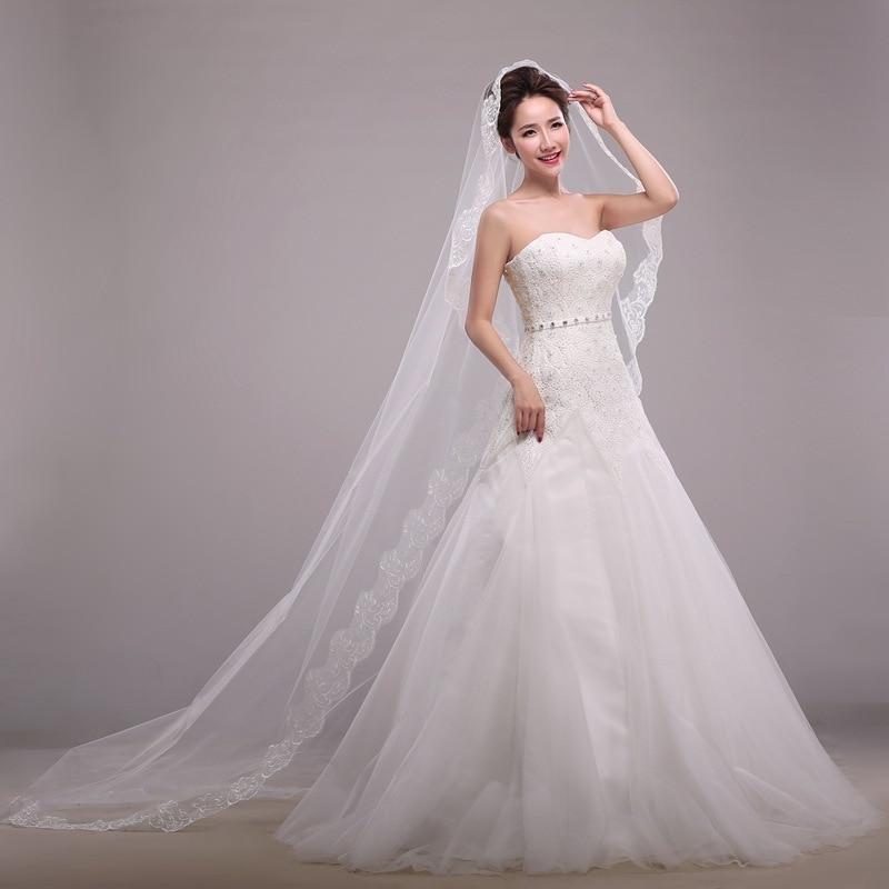 EZKUNTZA 3m Wedding Veil With One-layer Lace Edge Veil White Long Bridal Veils Cathedral Veil 2019 New Wedding Accessories L