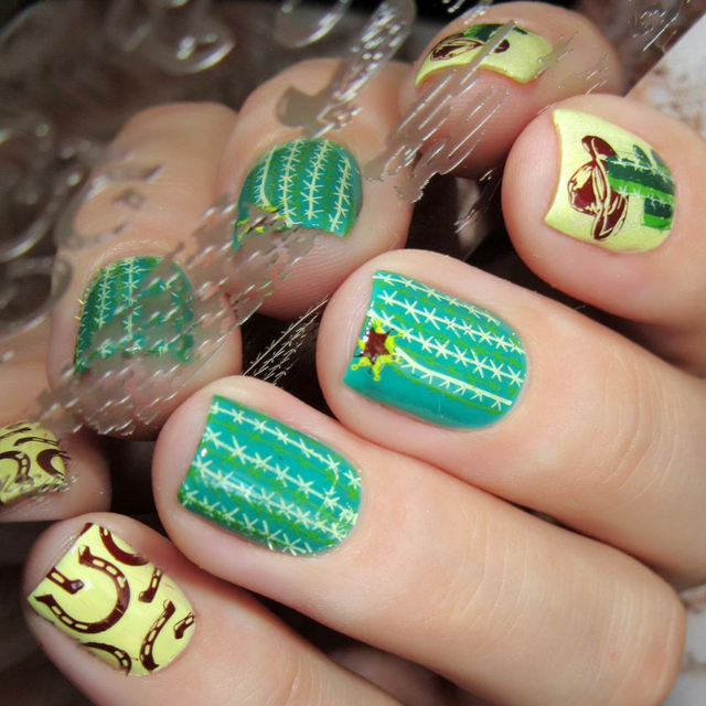 War Style St Nail Art Boots Cactus Template Image