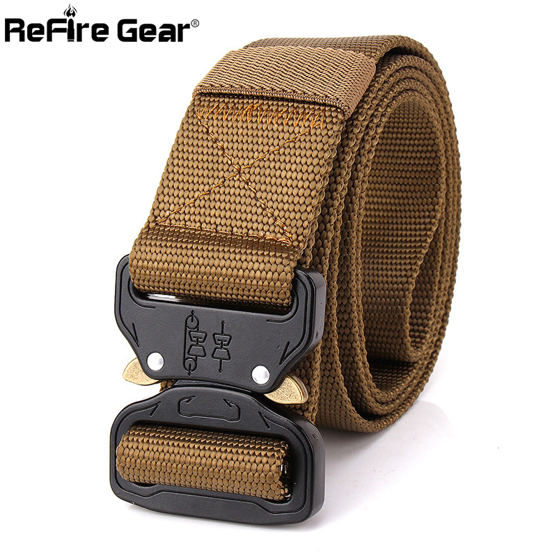 US $11 04 35% OFF|US Army SWAT Combat Tactical Belt Men Thicken Metal  Buckle Nylon Military Belts Heavy Duty Molle Carry Survival Waist Belt  3 8cm-in