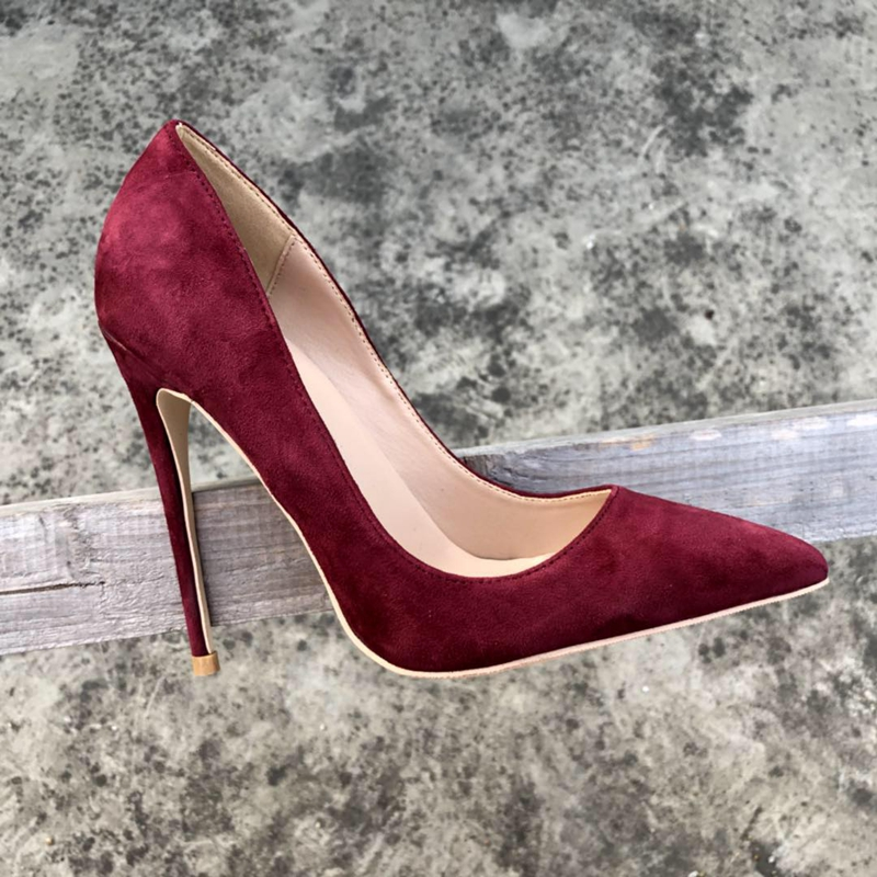 2018 Spring new flock leather pointed toe ol high heels Ladise pumps shallow slip on women