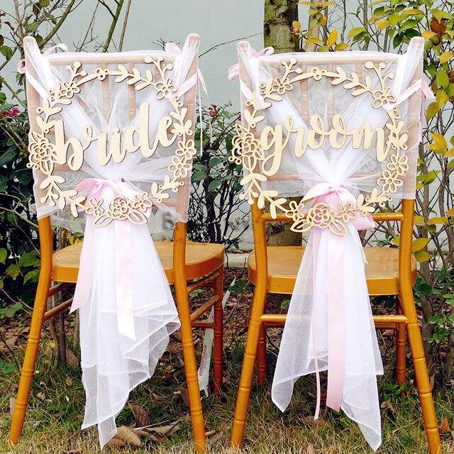 Rustic Wedding Wooden Chair Sign Garland Shape Wedding Chair Sign
