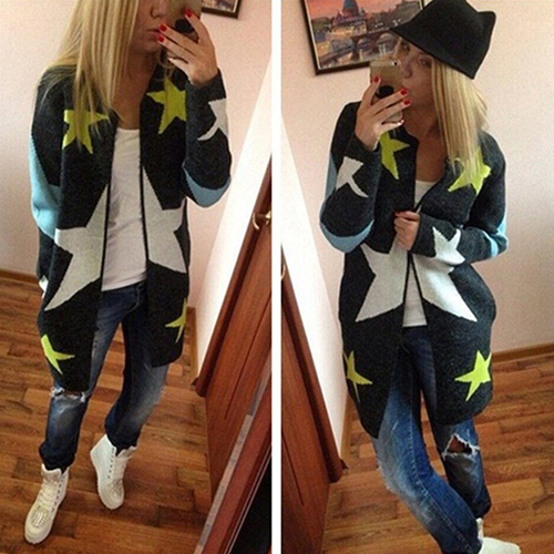 Women Autumn Fashion Pentagram Print Loose Casual O-Neck Knitted Coat Cardigan New Arrival