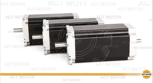 ACT Motor 3PCS Nema23 Stepper Motor 23HS2430B Dual Shaft 4-Lead 425oz-in 112mm 3.0A Bipolar 8mm-Diameter CE ISO ROHS