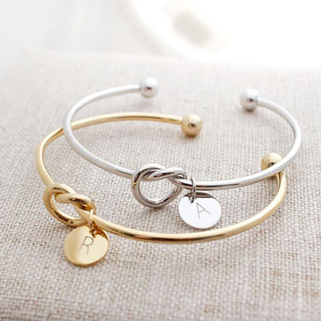 Women Creative Simple Initial Knot Bracelet With Letters A Z Love Friends Bridesmaid Lover Chrismas Gifts
