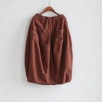 runback 2018 Fall Skirt Baggy Cotton Linen Jupe Retro Loose Waist Pure Color Cotton Linen Mid Calf Bud Skirts Midi Skirt