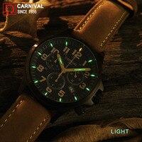 Карнавал Спортивный Хронограф T25 Тритий часы Для мужчин военные Для мужчин s часы лучший бренд класса люкс Человек Световой кварцевые наруч