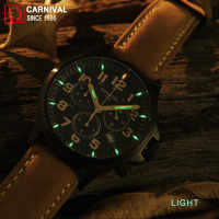 Carnival Sport Chronograph T25 Tritium Watch Men Military Mens Watches Top Brand Luxury Man Luminous Quartz Wristwatch kol saati