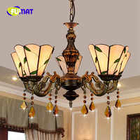 FUMAT European Modern Mediterranean Minimalist Leaves Living room Dining room Bedroom clubhouse cafe Stained Glass 5 Chandelier