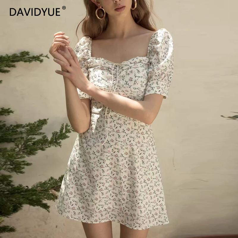 Floral vintage dress women summer beach dress elegant square collar white party dress Sexy mini dress puff sleeve vestidos Fall 1