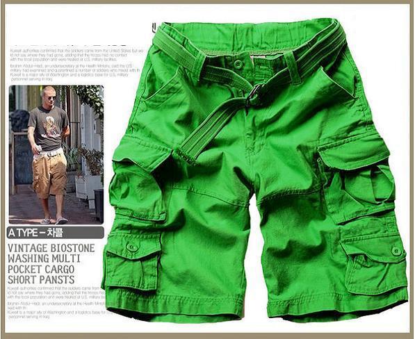 Новинка, Летний стиль, мужские повседневные армейские камуфляжные шорты Карго, хлопковые короткие штаны, военные камуфляжные модные шорты, мужские пляжные шорты - Цвет: Зеленый