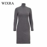 2151949869 WIXRA Basic Turtleneck Dress Women Side Split Spring Jersey Knit Cotton  Dress Slim Elastic Long Sleeve. WIXRA Vestido Básico de Gola Alta Mulheres  ...
