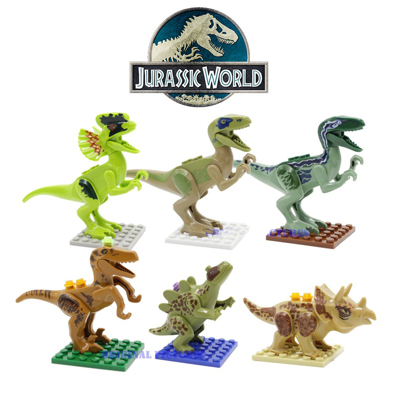 6Pcs/Set Jurassic World 4 Movie Mini Dinosaur Building Blocks Figures Bricks Kids Toys Gift Compatible with legoeINGly Juguetes 2 sets jurassic world tyrannosaurus building blocks jurrassic dinosaur figures bricks compatible legoinglys zoo toy for kids