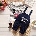 Bebé Arropa Sistemas Racha de Mickey camiseta + Pantalones de Ocio 2 unids Ropa de Los Muchachos del verano Bebe Ropa de algodón embroma la Ropa conjunto