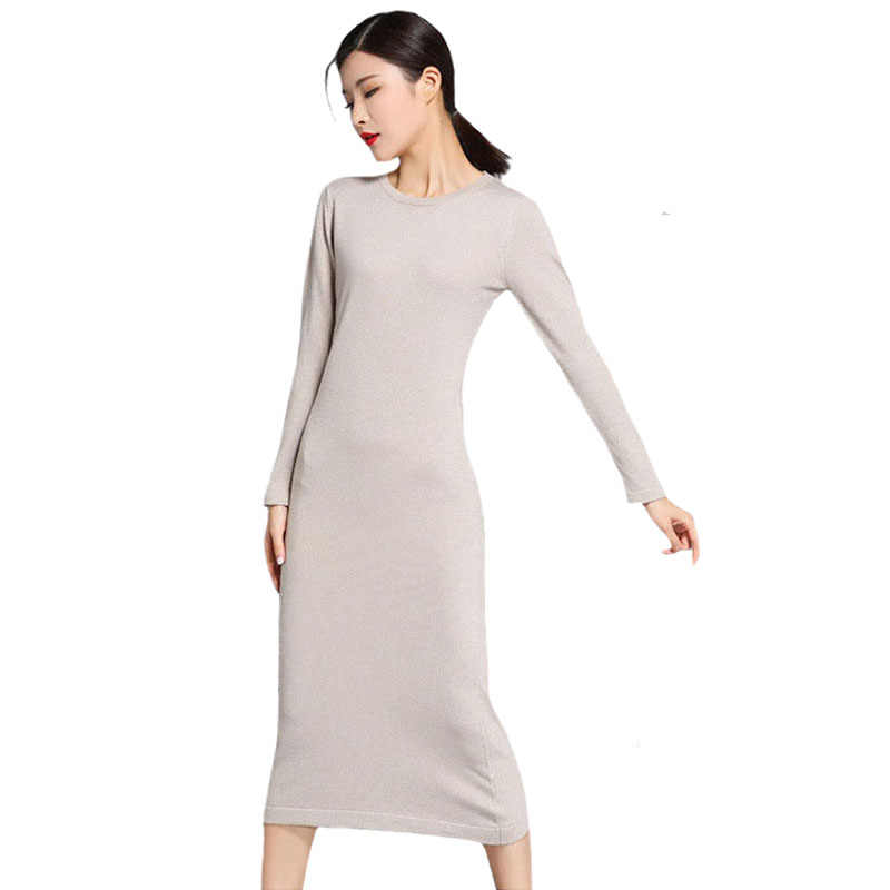 Pullover Long Sweater Dress for Winter Wool Cashmere Winter Knitted Dresses  Women Beige Black Cashmere Elastic d8e12322778c