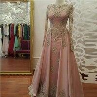 Настоящая фотография; розовое платья для выпускного вечера с длинным рукавом Кружева Аппликации Кристалл Платья для вечеринок вечерние пл