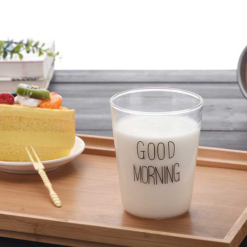 Good Morning Glass Breakfast Glass 400ml Brief Word Print Glassware Cups Mugs for Milk Coffee Kitchen boiling water Cup