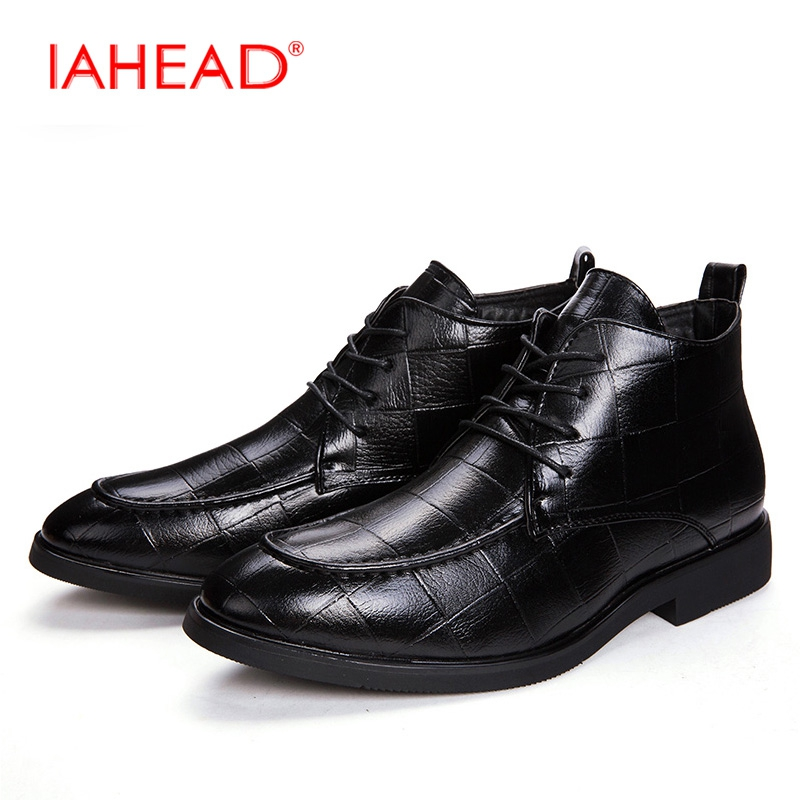 IAHEAD Men Split Leather Casual Shoes High Quality Winter Boots Men Chelsea Boots Lace-Up Pointed Toe Ankle Boots MU515 iahead men boots men chelsea boots winter lace up flats casual shoes men leather ankle boots chaussure homme de marque mh598