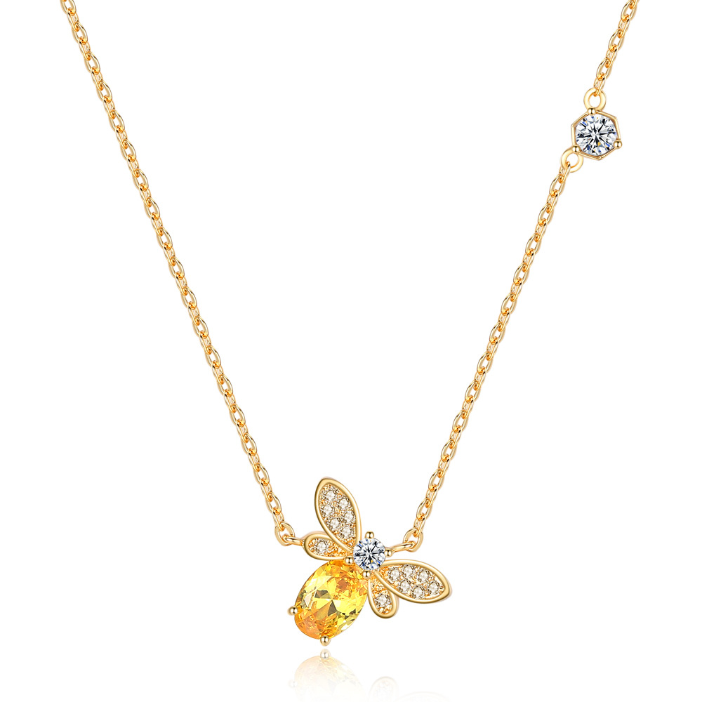 2020 New Fashion jewelry crystal from Swarovskis simple Hot little bee Sen versatile pendant clavicle chain Mother's Day gift