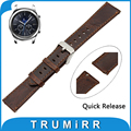 22mm Genuine Leather Watch Band Quick Release Strap for Samsung Gear S3 Classic / Frontier Belt Men Women Bracelet + Spring Bar