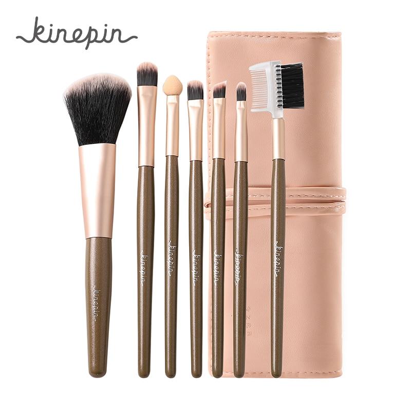 KINEPIN Professional 7pcs Kit Makeup Set Brushes Portable Cosmetic Eyebrow Powder Make Up Brush Tool W/ Sleek Leather Bag Holder