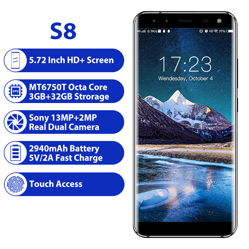 LEAGOO S8 3GB 32GB Mobile Phone Android 7.0 5.72'' Full Display  MTK6750T Octa Core 13MP 4 Cameras Fingerprint ID 4G Smartphone-in Cellphones from Cellphones & Telecommunications    2