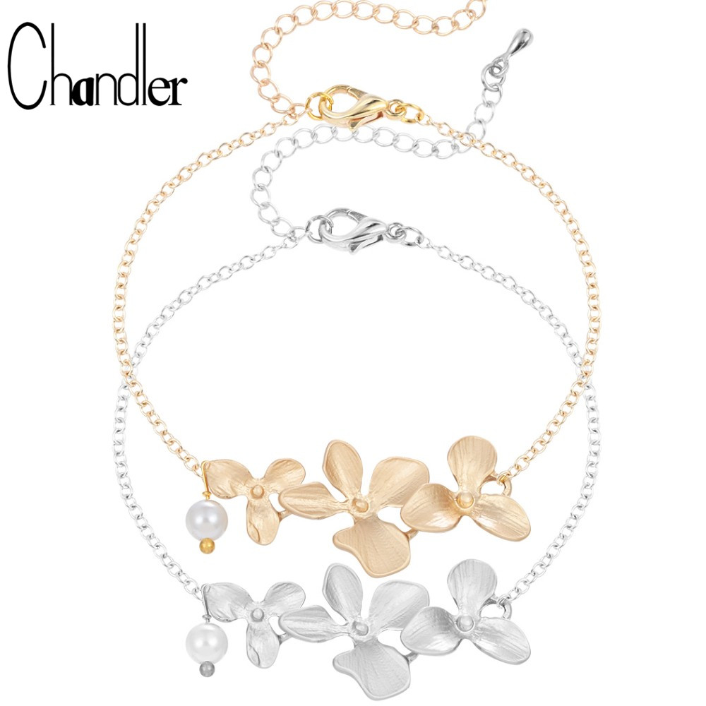 chandler hot korean orchid flower simulated pearl bracelet